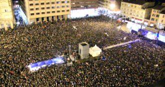 Sardine a Bologna, 40mila per l'evento Bentornati in mare aperto. La piazza ripresa dall'alto