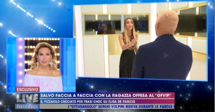 """Live Non è la D'Urso, faccia a faccia tra Salvo Veneziano e Elisa De Panicis: """"Mi scuso ma avresti potuto comportarti diversamente in casa"""". Lei gela tutti: """"Ho subito violenze a 17 anni"""""""