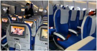 Coronavirus, il volo da Shanghai a Pechino è vuoto: le immagini dalla cabina dell'aereo