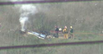 Le immagini dell'elicottero dopo lo schianto