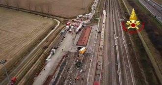 Frecciarossa deragliato a Lodi, le immagini aeree dell'incidente: la motrice fuori dai binari dopo l'impatto