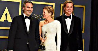 """Oscar 2020, i vincitori: Parasite è il miglior film. Joaquin """"Joker"""" Phoenix, Renée Zellweger, Brad Pitt e Laura Dern migliori attori"""