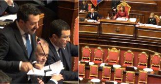 """Gregoretti, Salvini in Aula: """"Se c'è qualcuno che scappa oggi è il governo"""". Ma la Casellati replica: """"La presenza dell'esecutivo non era prevista"""""""