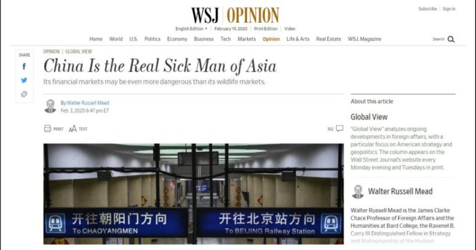 """Coronavirus, Wall Street Journal: """"La Cina è il malato d'Asia"""". E Pechino caccia 3 giornalisti della testata: """"Titolo razzista"""""""