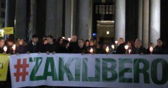 """Patrick Zaki, fiaccolata al Pantheon per chiedere la liberazione. Palazzotto: """"Nostra cittadinanza? Possibile. Italia si assuma responsabilità"""""""