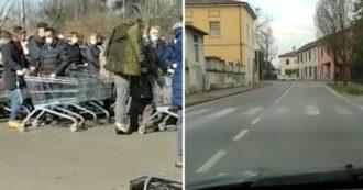 Coronavirus, strade deserte e file davanti al supermercato: le immagini girate dai cittadini di Codogno in isolamento