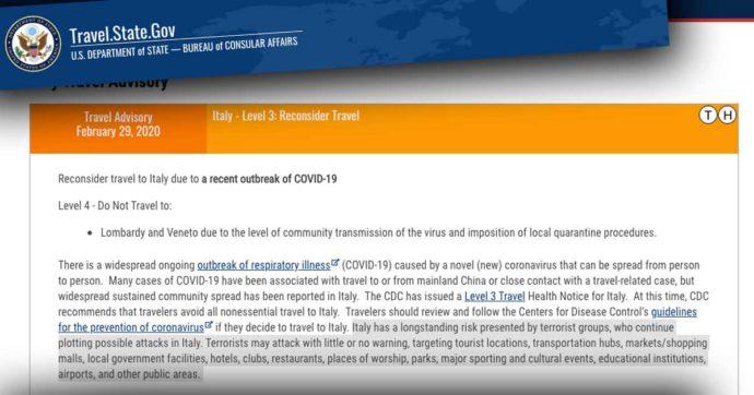 """Coronavirus, per il governo degli Stati Uniti non è l'unico pericolo che c'è in Italia: """"In luoghi pubblici rischio di attacchi terroristici"""""""