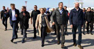 """Migranti, i presidenti di Parlamento, Consiglio e Commissione Ue al confine Grecia-Turchia: """"Grazie Atene, i tuoi confini sono i nostri"""""""