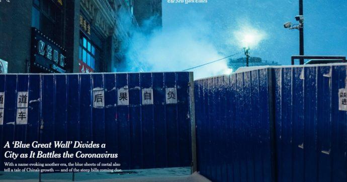 """Coronavirus, la Cina divide una città con recinzioni da cantiere per limitare i contagi: è la """"Grande Muraglia Blu"""""""