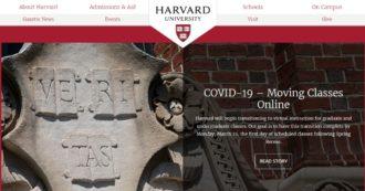 Coronavirus, Harvard chiede agli studenti di non rientrare dopo pausa di primavera. Mit, Columbia e Princeton passano a lezioni online