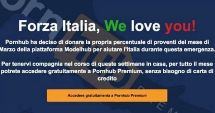"""Coronavirus, Pornhub offre il servizio Premium gratis per tutto il mese di marzo: """"Forza Italia, we love you"""""""