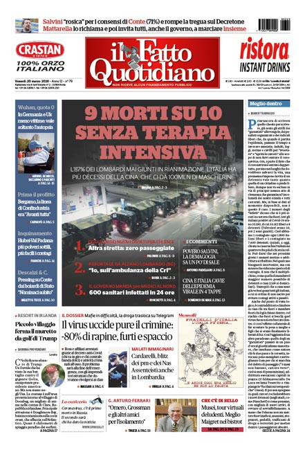 Prima Pagina Il Fatto Quotidiano - 9 morti su 10 senza terapia intensiva