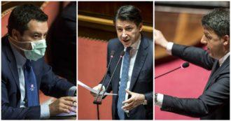 """Coronavirus, Conte in Senato: """"Più confronto con le opposizioni. In totale stanzieremo non meno di 50 miliardi"""". Renzi e Salvini evocano Draghi: 'Le indica la strada'. Il premier: 'Siamo in sintonia, serve shock'"""
