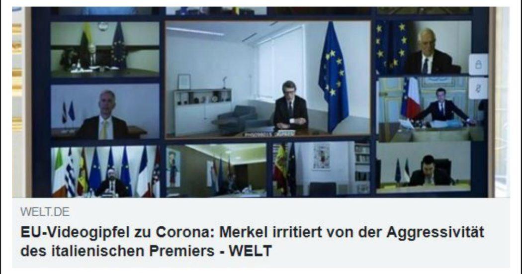 """Ue, stampa tedesca divisa sulla linea dura. Zeit: """"Senza accordo non resterà molto dell'Europa"""". Welt: """"Merkel innervosita dall'aggressività di Conte. Gli Eurobond costerebbero a nostri contribuenti 30 miliardi"""""""