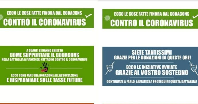 """Coronavirus, il caso del banner del Codacons (poi modificato) con richiesta di donazioni. Il sottosegretario: """"La Polizia sta verificando"""". E ringrazia Fedez"""