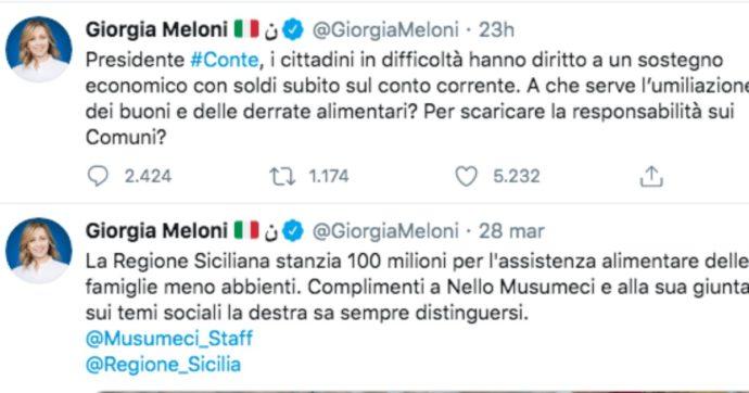 Coronavirus, Meloni indecisa sui buoni spesa: si complimenta per quelli in Sicilia ma un'ora dopo attacca Conte (sullo stesso tema)