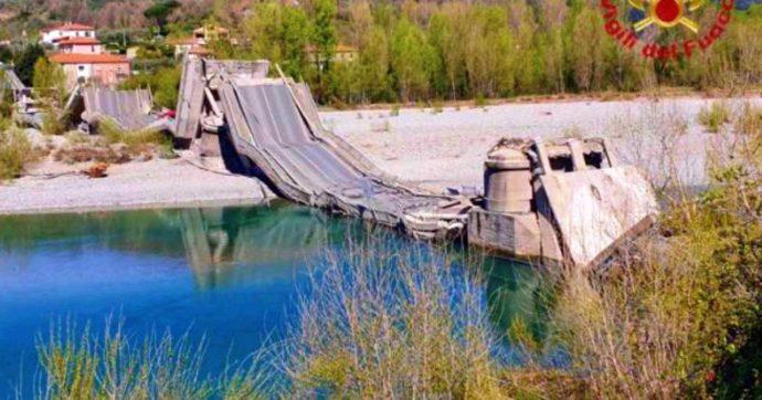 Massa Carrara, crolla ponte sul fiume Magra nel comune di Aulla: coinvolti due furgoni, un ferito trasportato in ospedale