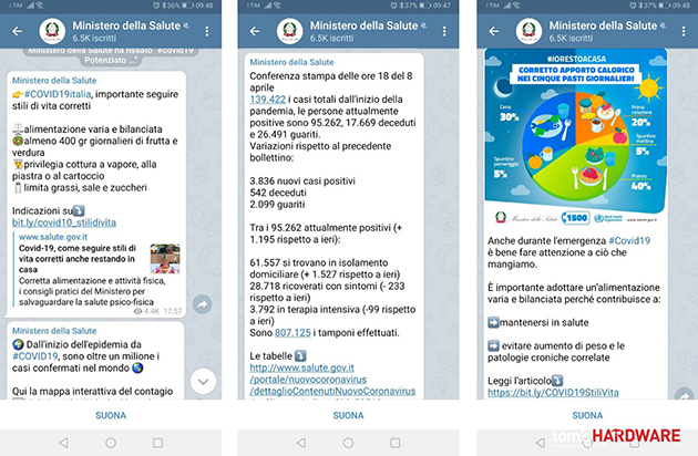 Coronavirus, il Ministero della Salute sbarca su Telegram