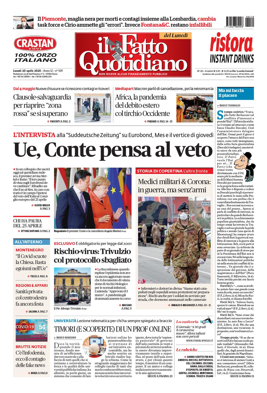 Prima Pagina Il Fatto Quotidiano - Ue, Conte pensa al veto