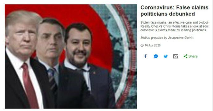 """Coronavirus, per la Bbc Matteo Salvini è tra i politici al mondo che hanno diffuso fake news. In """"classifica"""" anche Trump e Bolsonaro"""