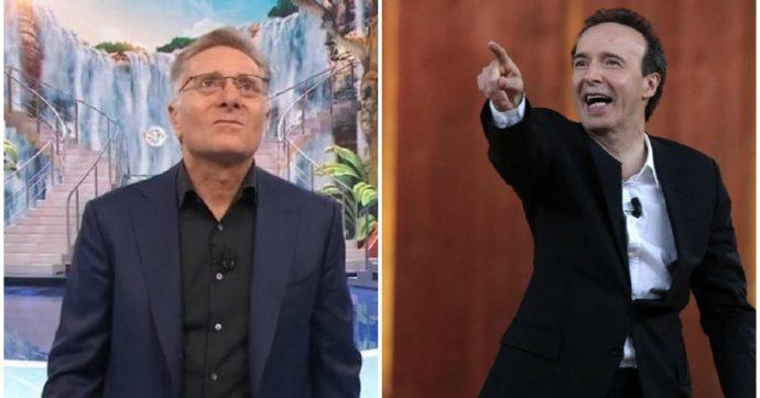"""Ciao Darwin con Paolo Bonolis batte Roberto Benigni con i suoi """"Dieci Comandamenti"""": il sabato sera e la sfida delle repliche"""