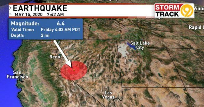Usa, in Nevada terremoto di magnitudo 6,4: epicentro a metà strada tra Reno e Las Vegas