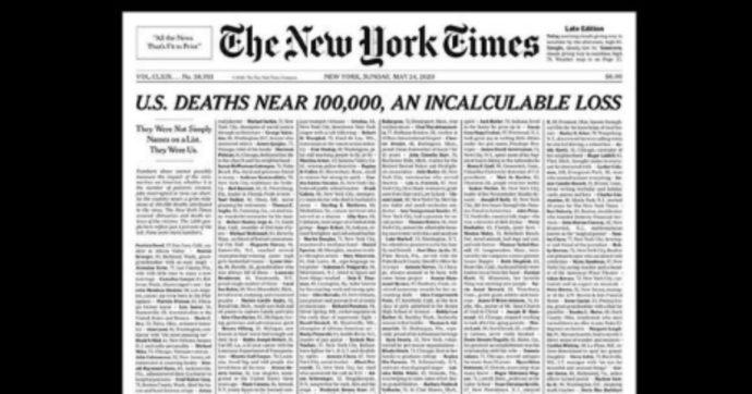 New York Times, la storica prima pagina con i nomi e le storie dei morti per coronavirus