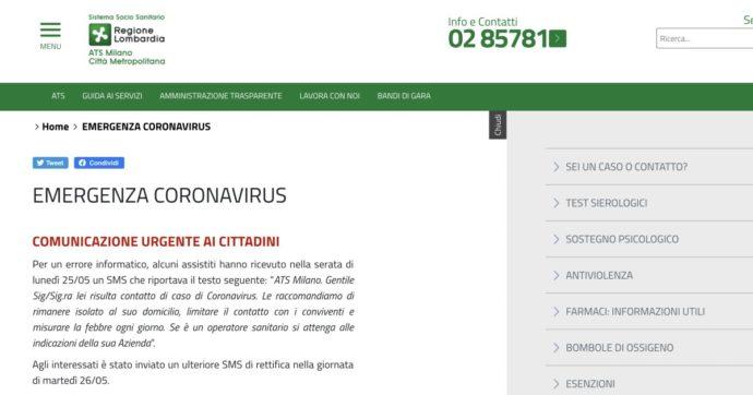 """""""Lei risulta contatto di caso di Coronavirus"""": Ats Milano manda questo sms, poi Regione Lombardia rettifica. """"Errore informatico"""""""
