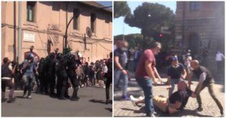 """Forza Nuova e ultras, tra schiaffi tra manifestanti, insulti e lancio di bottiglie e petardi: """"Giornalista terrorista"""" – Il videoracconto dal Circo Massimo"""