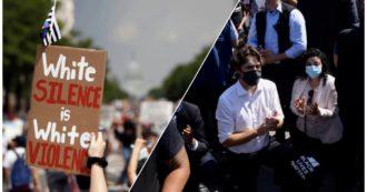 """George Floyd, in migliaia alla marcia contro il razzismo. Cbs rivela: """"Trump voleva mandare 10mila soldati per bloccare le proteste"""".  In Canada il premier Trudeau si inginocchia assieme ai manifestanti"""