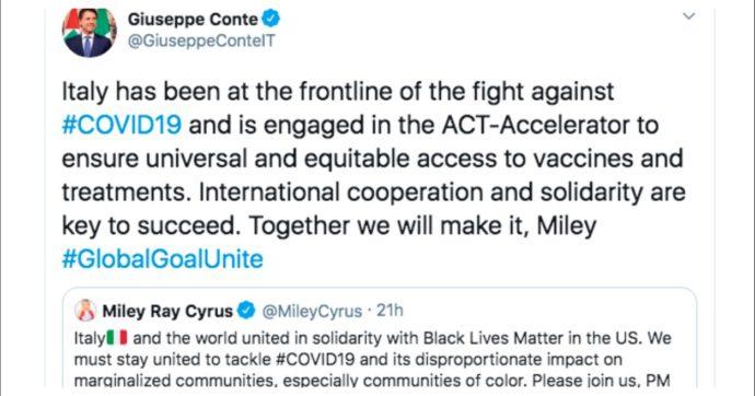 """Conte a Miley Cyrus su Twitter: """"Solidarietà a Black lives matter? Noi in prima linea contro il covid e per accesso cure. Insieme ce la faremo"""""""