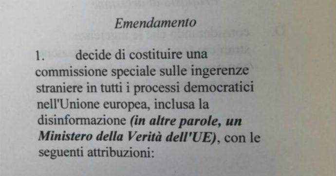 """Ue, emendamento di Identità e Democrazia per creare il """"ministero della Verità"""": ma è protesta contro la commissione sulla disinformazione"""