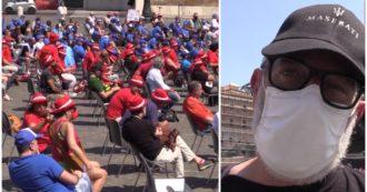 """Operai in piazza a Roma, il lavoratore Maserati: """"Privilegio essere in cassa integrazione oggi. Impiegati un mese sì e uno no"""""""