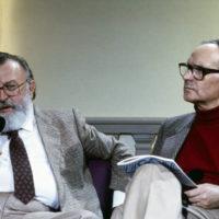 ©girella/lapressearchivio storicospettacolocinemaanni '80Sergio Leonenella foto: il regista Sergio Leone con il compositore Ennio Morricone