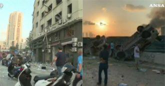 Esplosioni a Beirut, la città devastata dopo le deflagrazioni: auto sollevate da terra e macerie ovunque – Video