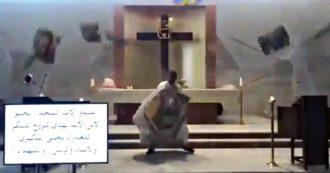 Beirut, l'esplosione fa crollare il soffitto della chiesa durante la messa: la fuga del prete per salvarsi. Video
