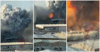 Il fuoco, le prime esplosioni e poi l'esplosione: la sequenza dell'esplosione a Beirut in un nuovo video