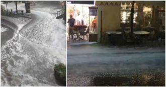 Maltempo, violenta grandinata su Merano: le strade della cittadina diventano fiumi di acqua e ghiaccio. Allerta arancione al nord