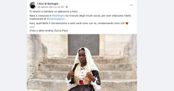 """Modella di colore indossa un abito tradizionale sardo e viene insultata sui social. Lei risponde: """"Ignoranza, io sono nata e cresciuta a Olbia"""""""
