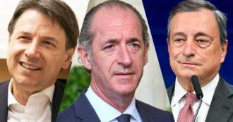 Sondaggi, Conte il leader più amato: seguono Zaia e Draghi. Cala ancora la Lega (ma resta primo partito). Al referendum l'82% vota Sì