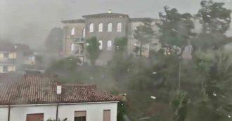 Tromba d'aria nel Veronese, la forza del vento scoperchia il tetto di una palazzina. Il video