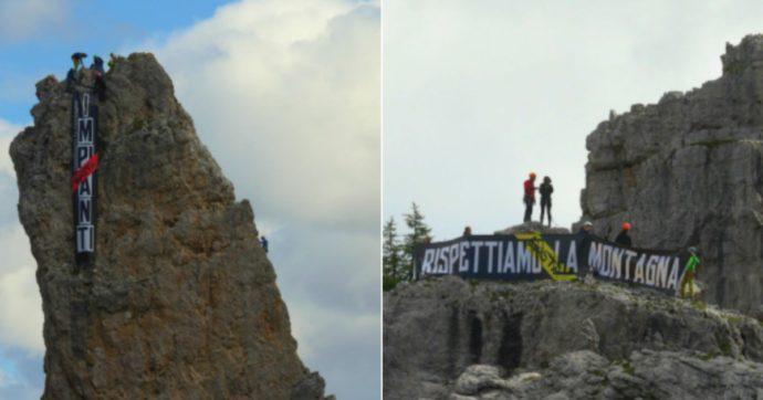 """Flash mob sulle Cinque Torri di Cortina: """"Basta impianti"""". Tra Mondiali, Olimpiadi e turismo: altre infrastrutture sulle Dolomiti"""