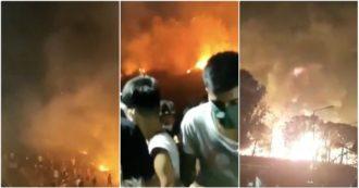 """Lesbo, incendio """"fuori controllo"""" e migranti in fuga: brucia il campo di Moria. I video"""