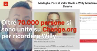 """Omicidio di Willy, su Change.org i messaggi di vicinanza per la famiglia. La petizione: """"Era un eroe, merita la medaglia d'oro al valore civile"""""""