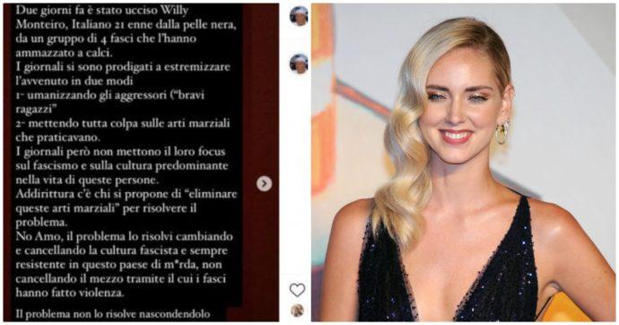 """Pubblica post Instagram sull'omicidio di Willy e contro la """"cultura fascista"""" e la Ferragni lo condivide: profilo cancellato da attacco hacker"""