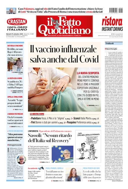 Prima Pagina Il Fatto Quotidiano - Il vaccino influenzale salva anche dal Covid