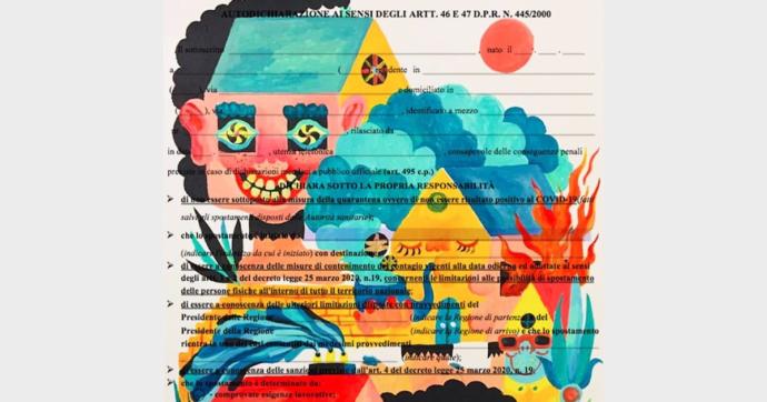 """""""Autocertificazioni illustrate"""", l'iniziativa di due disegnatori durante il lockdown diventa una mostra a Roma"""