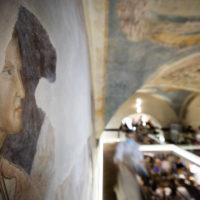 Firenze, ristorante Fishing Lab, ex Palazzo dell'Arte dei Giudici e Notai. Presunto ritratto di Dante eseguito da un contemporaneo.