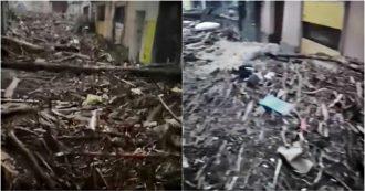 Maltempo in Piemonte, le strade del comune di Garessio invase dai rami dopo la piena del Tanaro. Le immagini