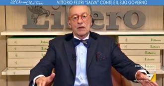 """Vittorio Feltri sorprende tutti e smentisce se stesso: """"Italia fiore all'occhiello, mettetevi la mascherina e non rompete"""". Stupore a La7"""